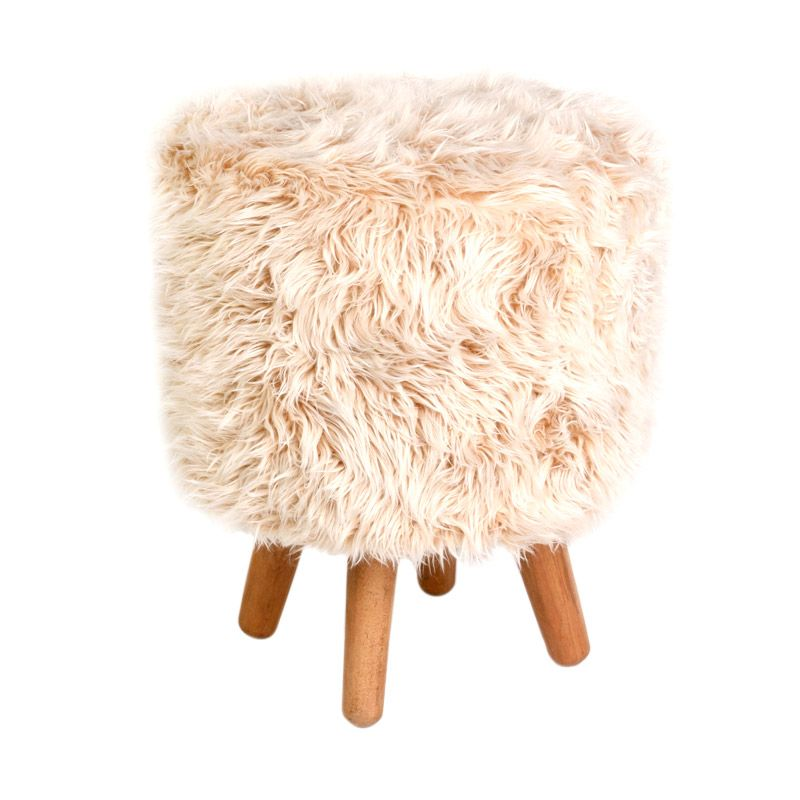 CURATED HOME Faux Fur Mix Wooden Beige Bangku