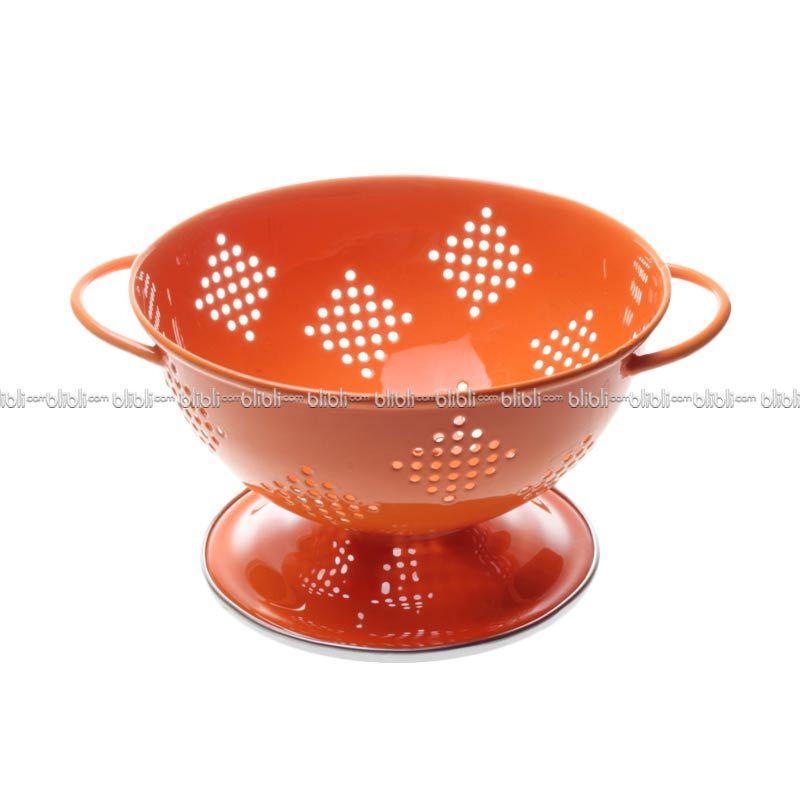 Cooks Habit Colander 0.8 QT Berry Coating Orange