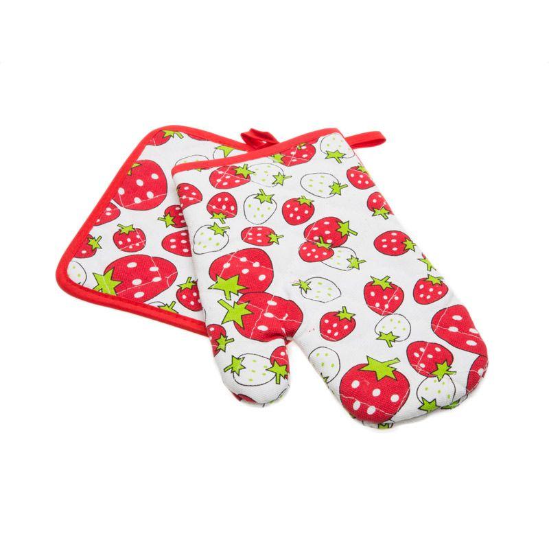 Cooks Habit Kitchen Linen Strawberry Mitten Set Cempal [2 Pcs]