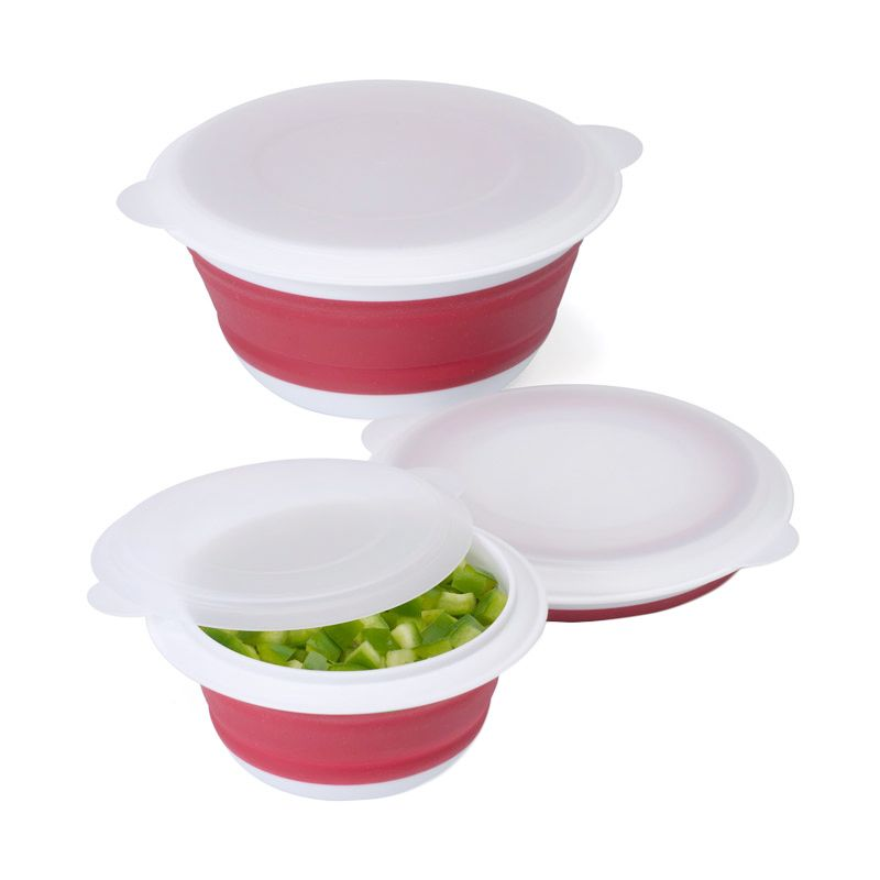Cooks Habit Progressive Red Collapsible Bowl (Set of 3)