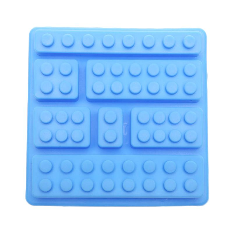 Cooks Habit Silicone Mould 7 Holes Lego Block Light Blue Cetakan Kue