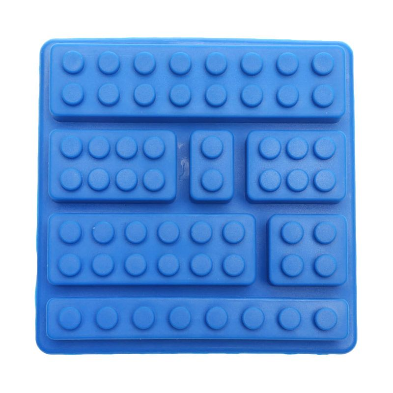 Cooks Habit Silicone Mould 7 Holes Lego Block Navy Blue Cetakan Kue