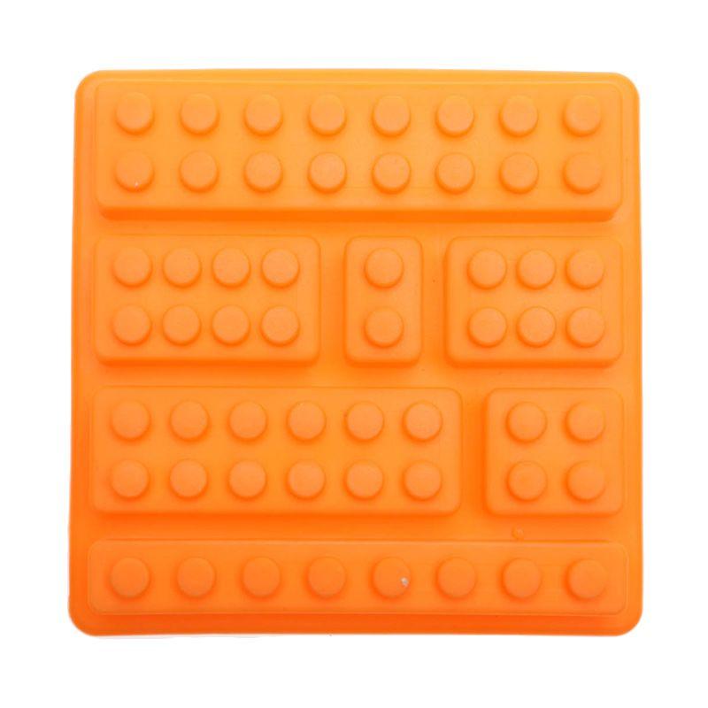 Cooks Habit Silicone Mould 7 Holes Lego Block Orange Cetakan Kue