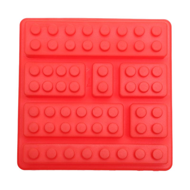 Cooks Habit Silicone Mould 7 Holes Lego Block Red Cetakan Kue