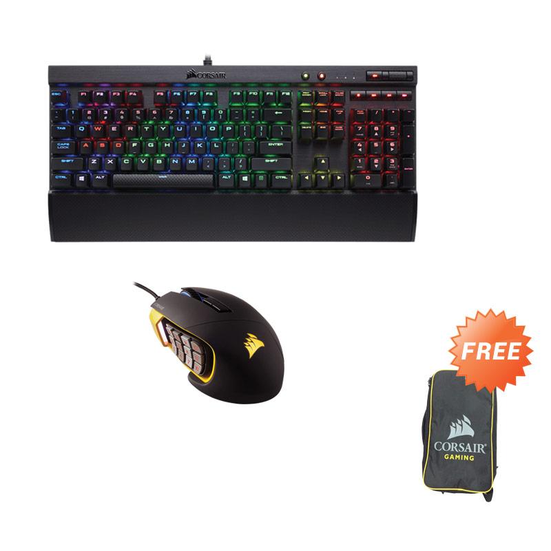 harga Corsair K70 LUX Cherry MX RGB Mechanical Gaming Keyboard - Red Bundling Scimitar RGB Mouse - Yellow + Free Bag Blibli.com