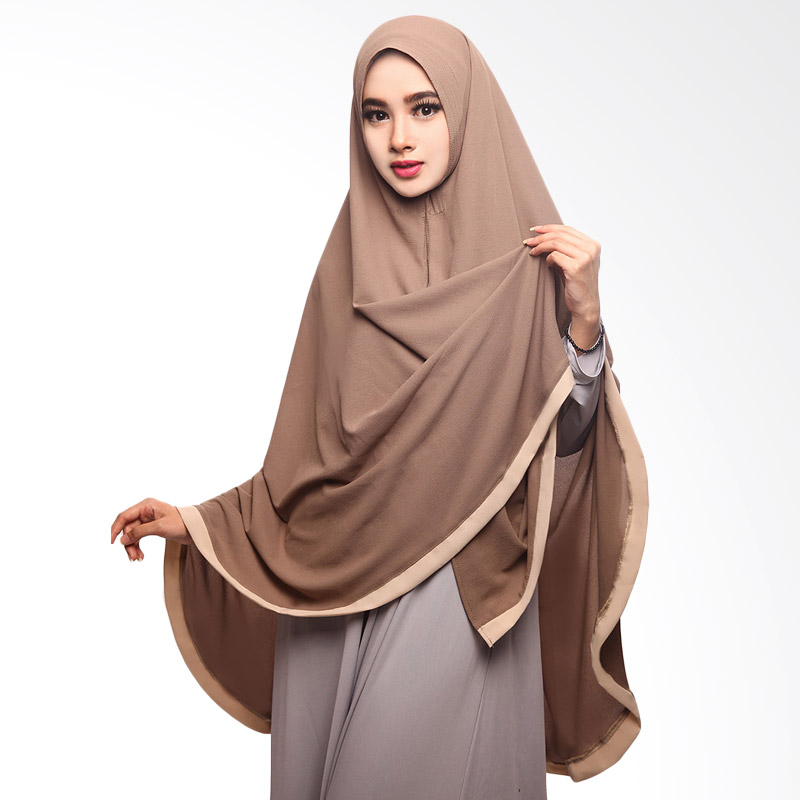Cotton Bee Khimar Amora Hijab List Coklat Tua