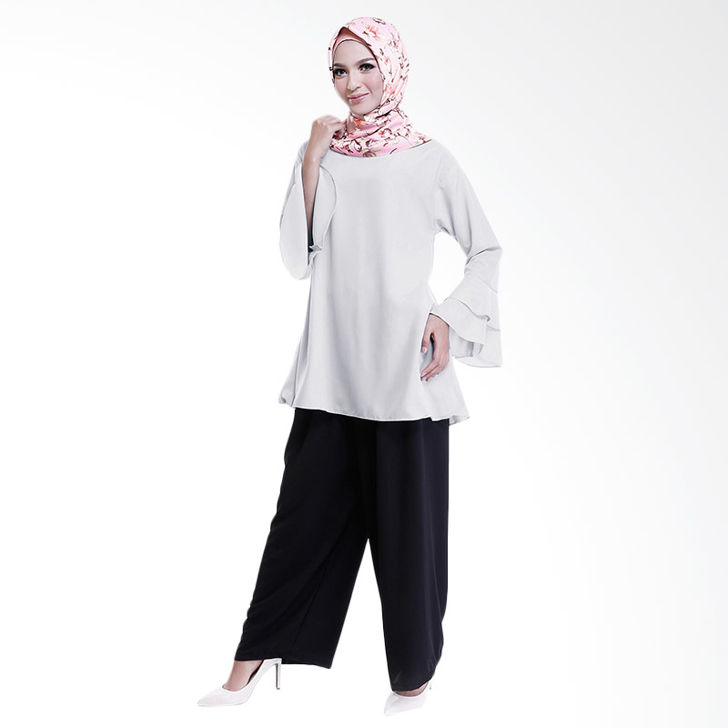 Cotton Bee Quincy Set Outfit - Light Grey (1 Set Hijab + Blouse + Culotte)