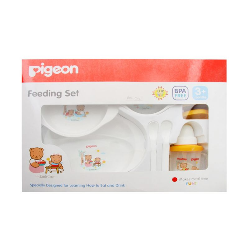 Pigeon Feeding Set With Training Cup Putih Alat Makan Bayi
