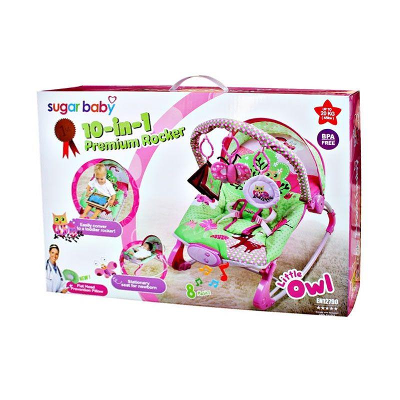 SUGAR BABY 10-in-1 Premium Rocker Bouncer Little Owl Pink Tempat Tidur Bayi