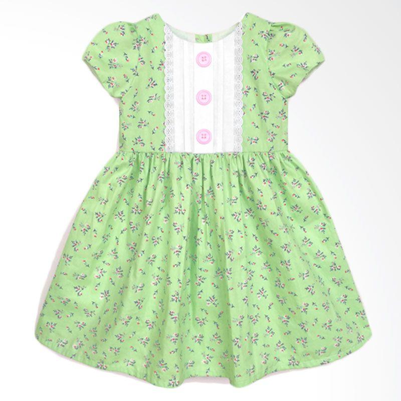 Cotton Pie Mint Floral Classic Dress Anak