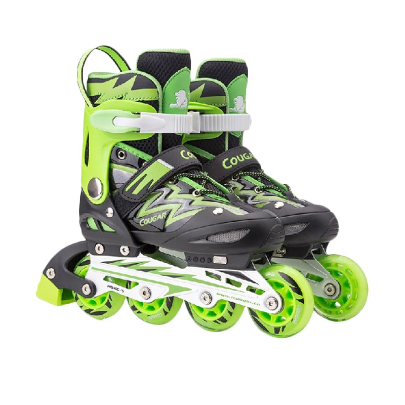 harga Cougar ADJ.Junior Inline Skate W/ABEC7 MS835L Sepatu Roda - Black Green [30-33] Blibli.com