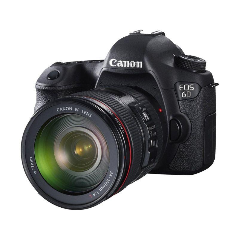 Canon EOS 6D Kit 24-105mm f/4.0L IS USM Wifi Hitam Kamera DSLR