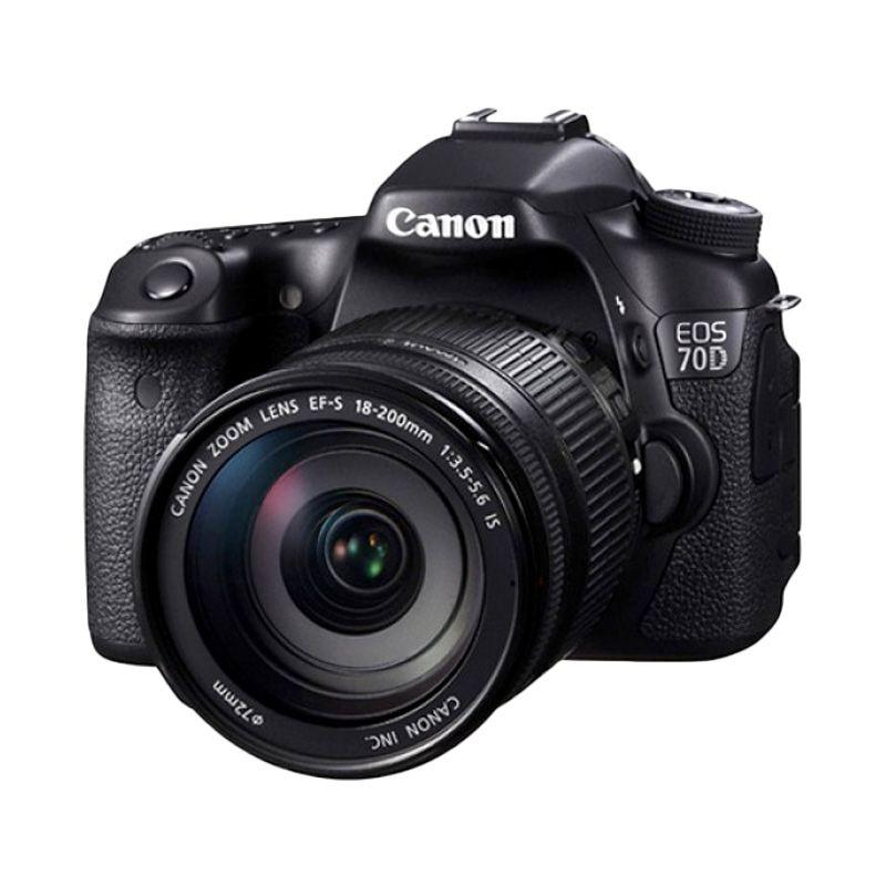 Canon EOS 70D Kit 18-200mm f/3.5-5.6 IS WiFi Hitam Kamera DSLR  Free Screenguard Terpasang