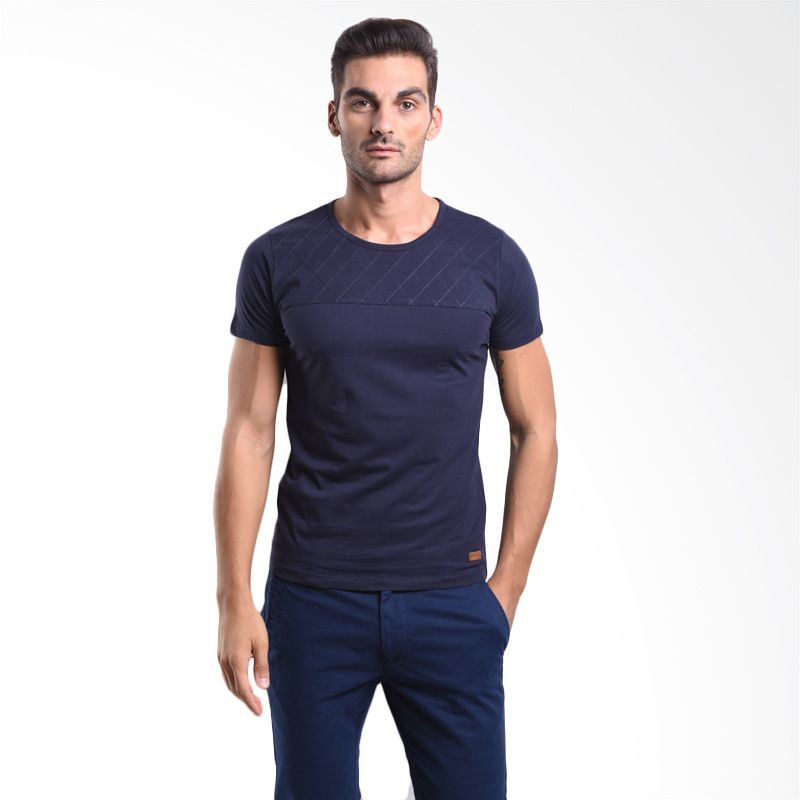 Cressida Contrast Panel With Quilting Navy 125A067 N T-Shirt Pria