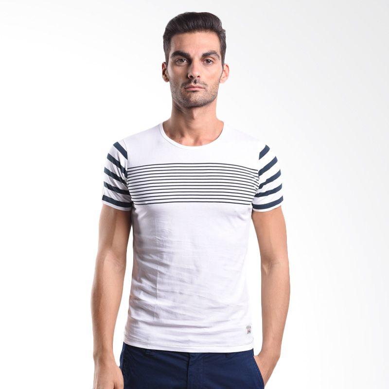 Cressida Stripe Sleeves White 125B132 P T-Shirt Pria