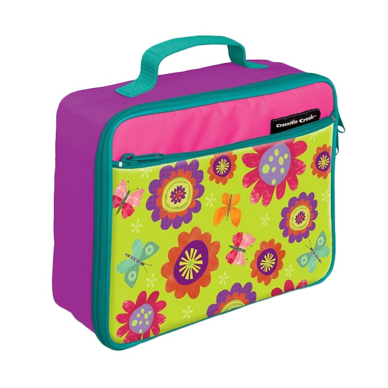 Crocodile Creek Lunch Box Flowers - Pink Green