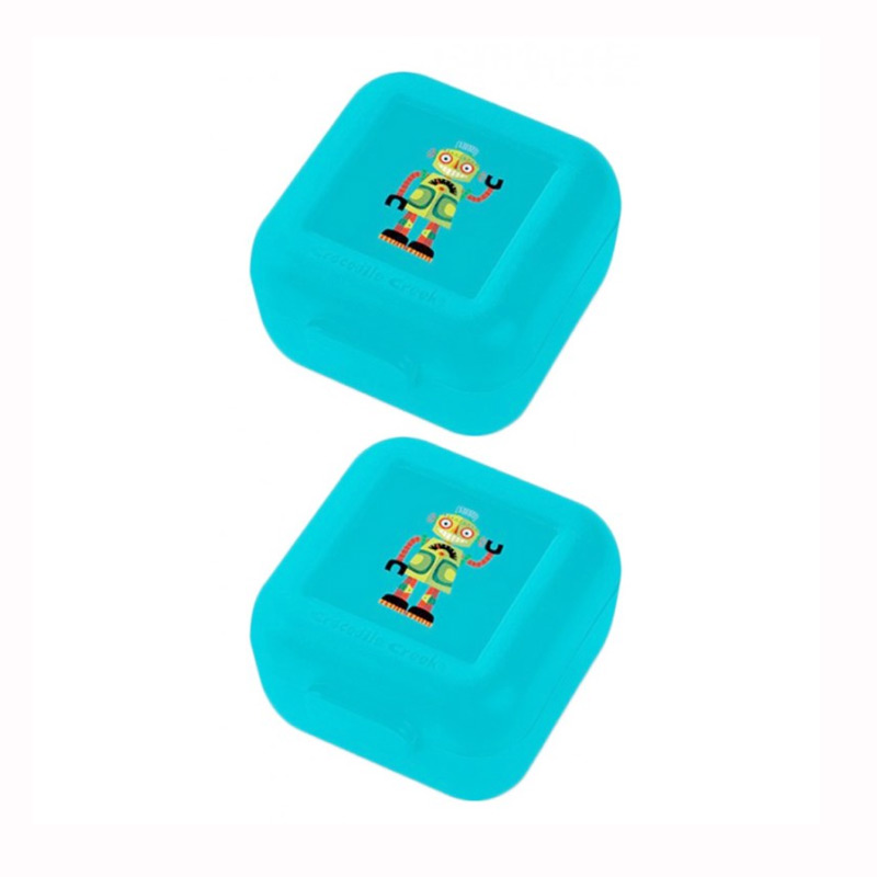 Crocodile Creek Snack Keeper Set Kotak Makan - Blue Robot [2 pcs]