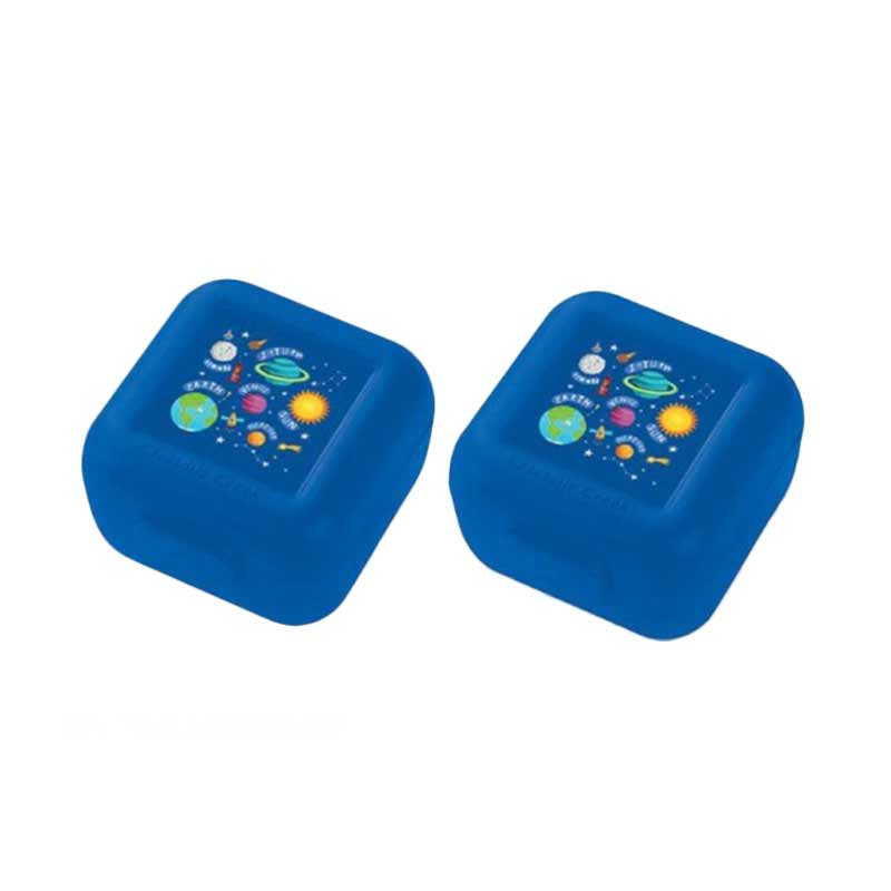 Crocodile Creek Snack Keeper Set Kotak Makan - Dark Blue Galaxy [2 pcs]