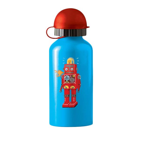 Crocodile Creek Stainless Steel Bottle Robot Botol Minum - Blue [400 mL]
