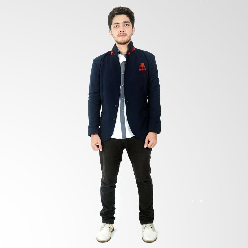 Grenade Contrast Square Combination Navy Red Blazer