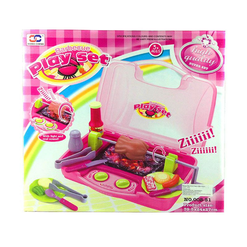 Happy Toon Barbeque Play Set 01 Pink Mainan Anak