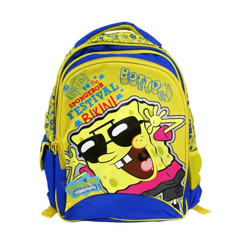 Nickelodeon Spongebob Biru Kuning Tas Sekolah [16 Inch]