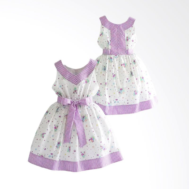 Ficalica Girl White Purple Dress Anak