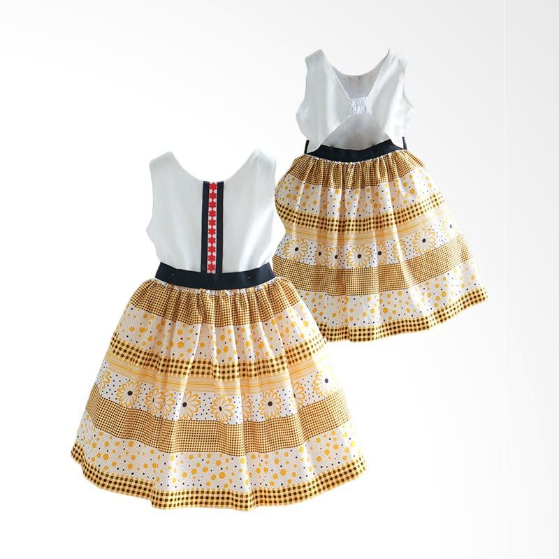 Ficalica Girl White Yellow Dress Anak