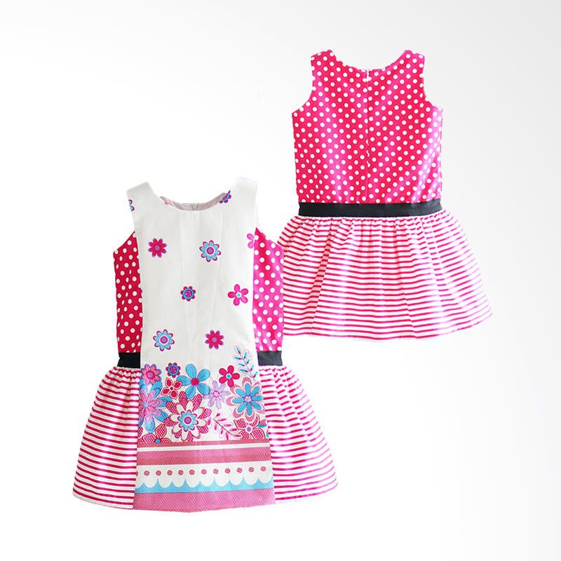 Ficalica Floral Hot Pink Dress Anak