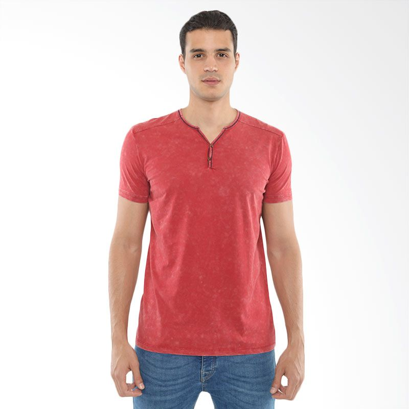 CVNL Contrast Stitch Slimfit Henley Merah Kaos Tshirt Pria Extra diskon 7% setiap hari Citibank – lebih hemat 10% Extra diskon 5% setiap hari