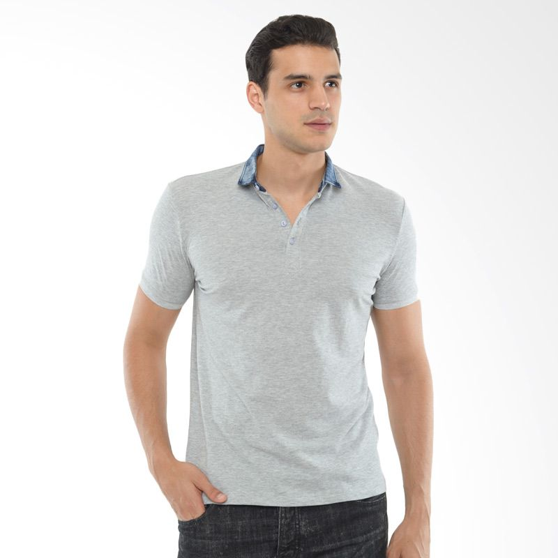 CVNL Slim Fit Denim Collar Abu-Abu Kaos Polo