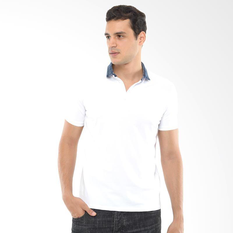 CVNL Denim Collar Slimfit Putih Kaos Polo Pria