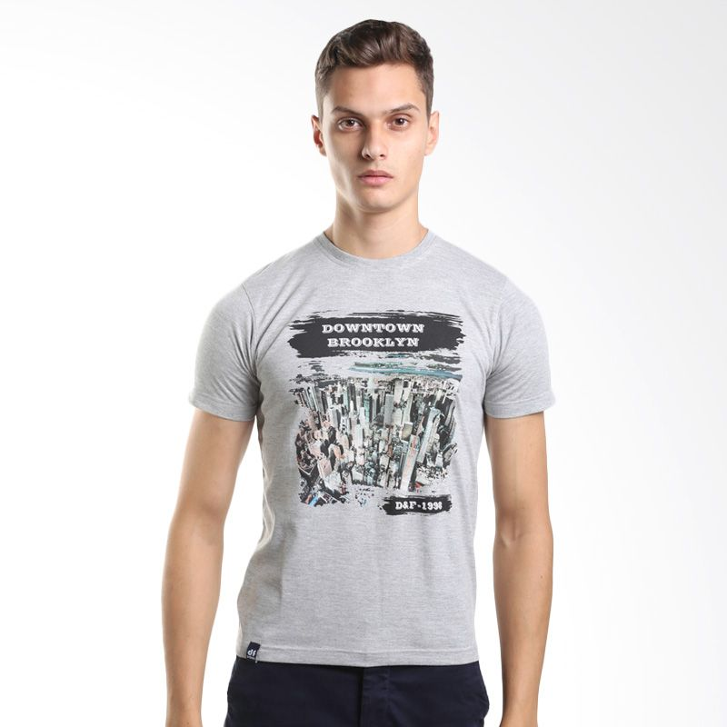 D&F Downtown Prooklyn 3115847 Grey T-Shirt Kaos Pria