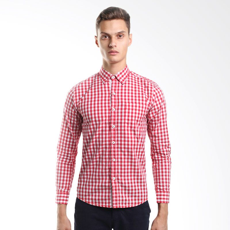 D&F Red Check 11150747 Red Kemeja Pria