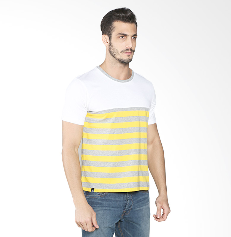 D&F 03526319 Big Striped T-Shirt - White Yellow Extra diskon 7% setiap hari Extra diskon 5% setiap hari