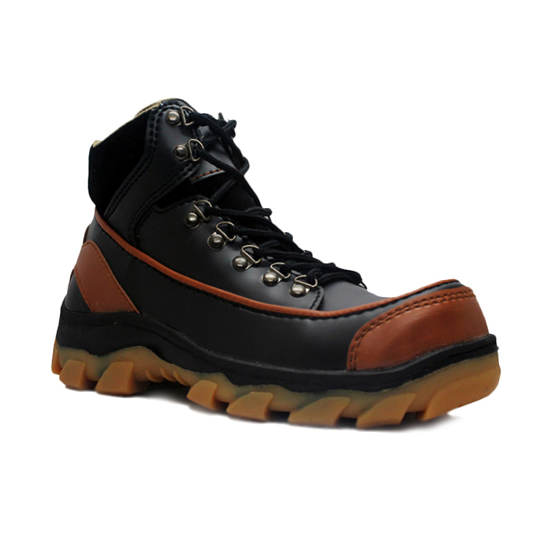 D-Island Shoes Cut Engineer Safety Boots Iron Apple Leather Sepatu Pria - Black