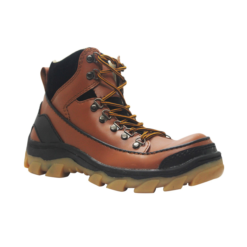 Cut Engineer Safety Boots Iron Apple Leather Sepatu Pria - Brown