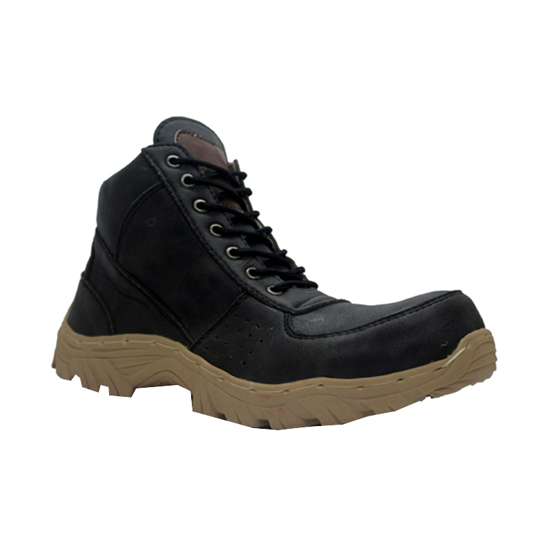 D-Island Shoes Cut Engineer Safety Boots Meganthropus Leather Sepatu Pria - Black