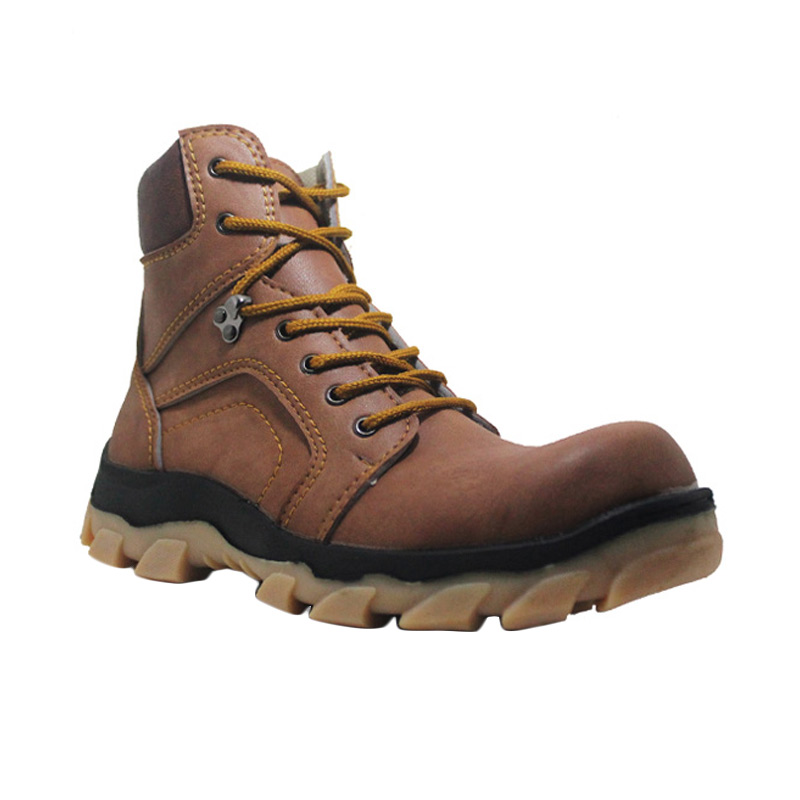 Cut Engineer Apple Safety Boots Leather Soft Brown Sepatu Pria