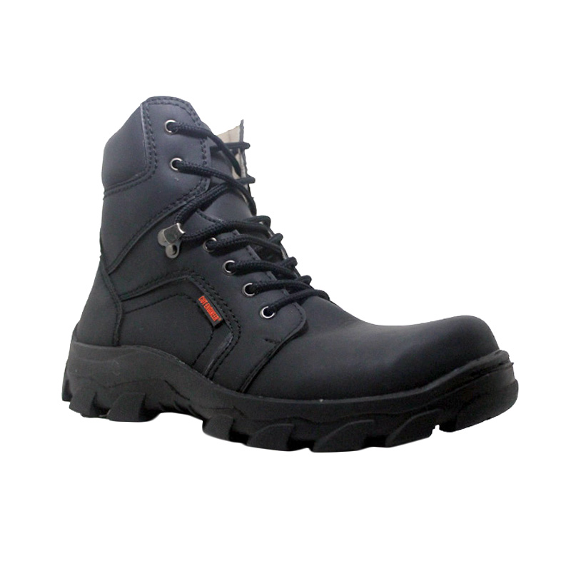D-Island Shoes Cut Engineer Safety Boots Iron Fosil Leather Hitam Sepatu Pria