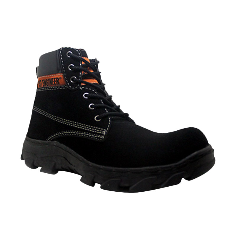 Cut Engineer Safety Boots Outdoor Suede Leather Hitam Sepatu Pria