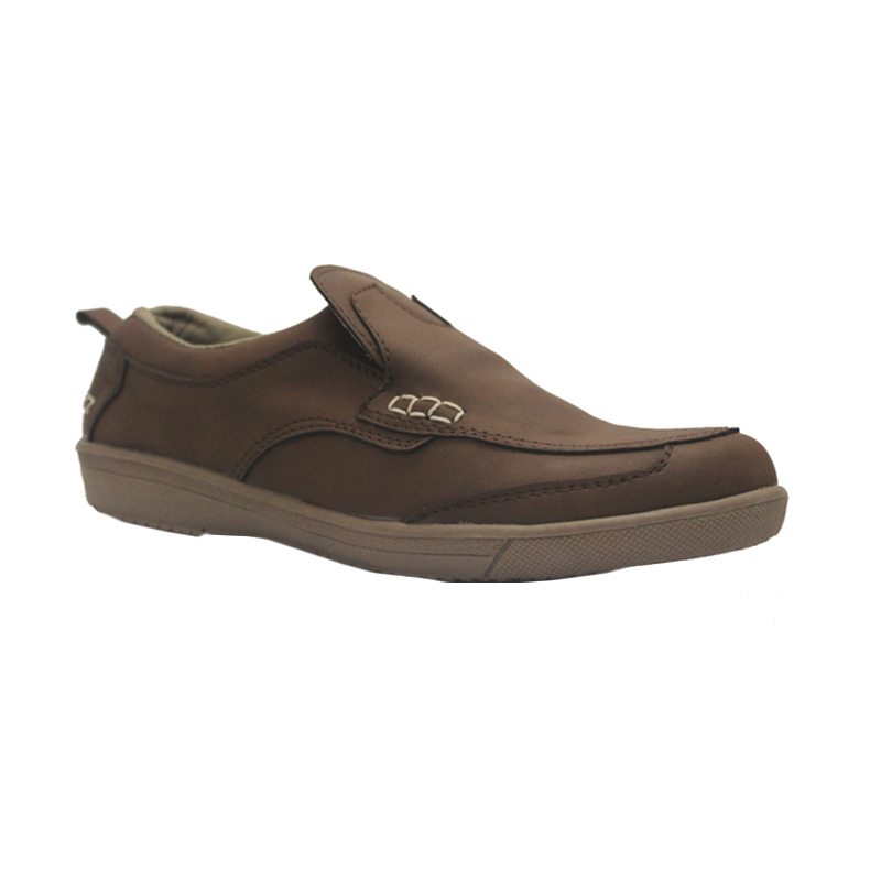 D-Island Shoes Slip On Reborn Special Leather Sepatu Pria - Brown
