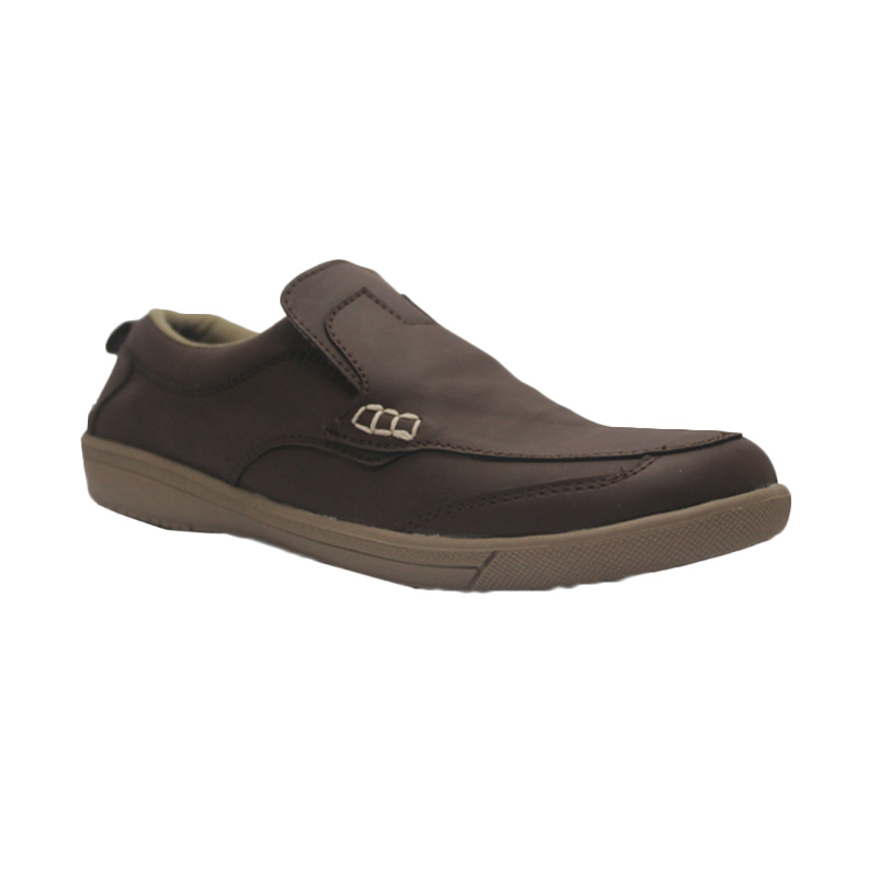 D-Island Shoes Slip On Reborn Special Leather Sepatu Pria - Dark Brown