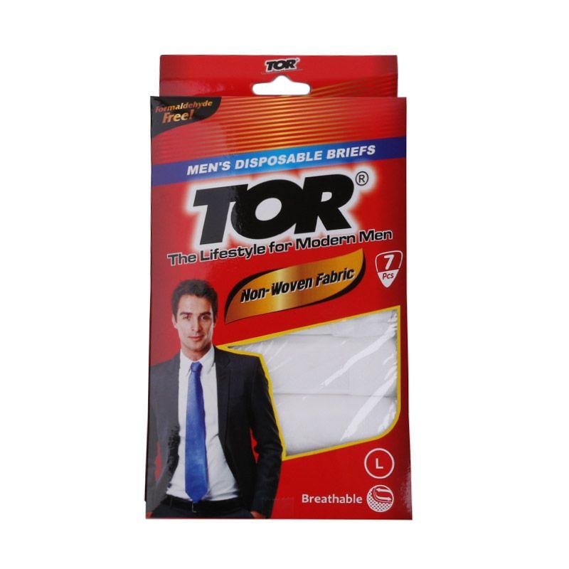 TOR Disposable Underwear Mans Putih Pakaian Dalam Pria - L