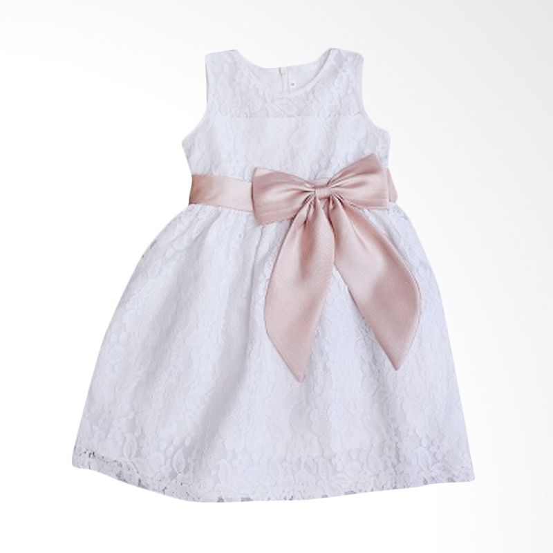 Dandelion Brocade White Dress Anak