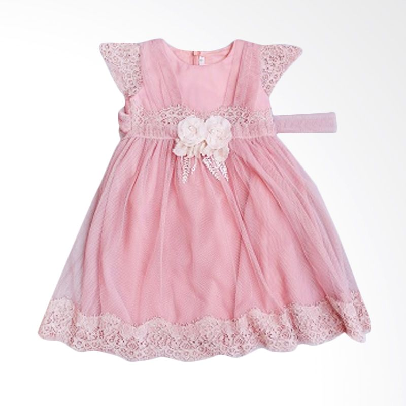 Dandelion Lacey Pink Dress Anak
