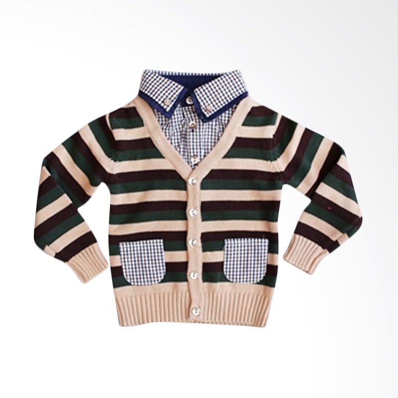 Dandelion Stripes Cardi Shirt Green Cardigan Anak