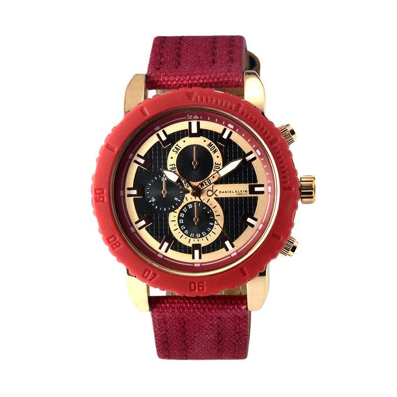 Daniel Klein DK 103875 IPRG Black Dark Red Jam Tangan Wanita