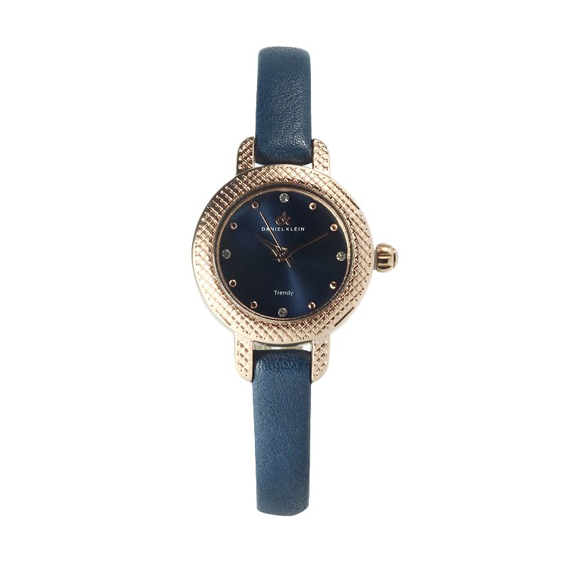 Daniel Klein DK 104024 IP Rose Gold Dark Blue Jam Tangan Wanita