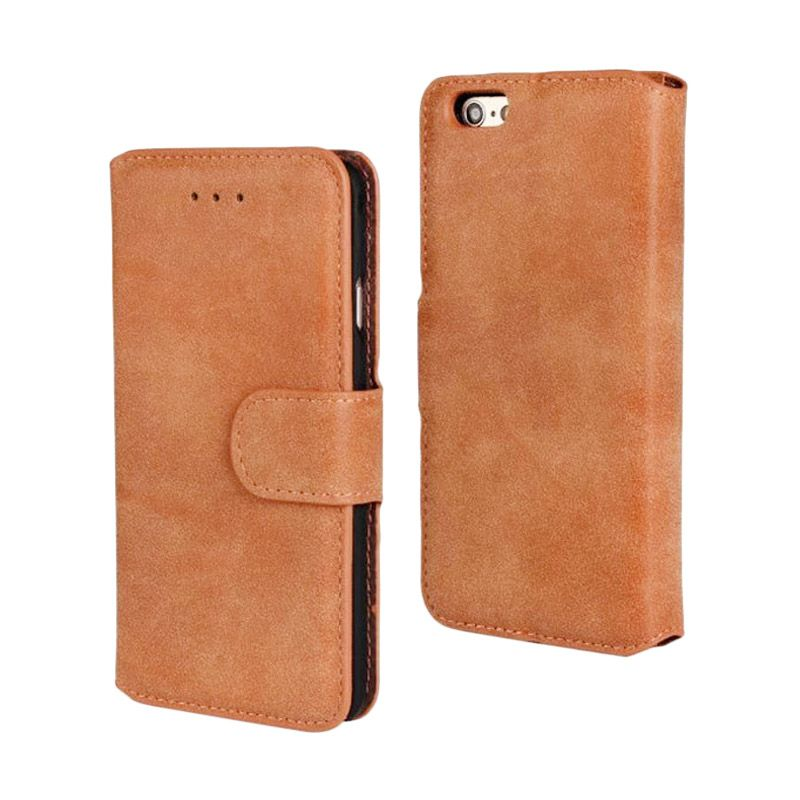 LeTaec Flip Cover Light Brown Casing for iPhone 6